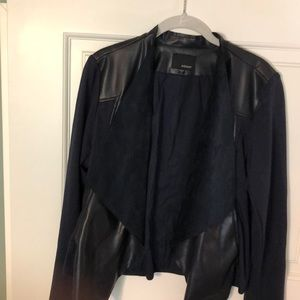 Cropped knit and vegan leather/suede jacket